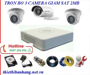 Trọn bộ 3 camera HIKVISION 2MB