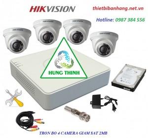 Trọn bộ 4 camera HIKVISION 2MB